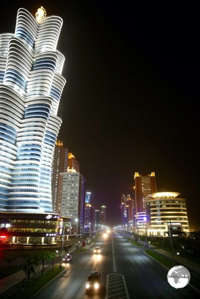 A night time view of Mirae Future Scientists street, a showcase neighbourhood in Pyongyang.