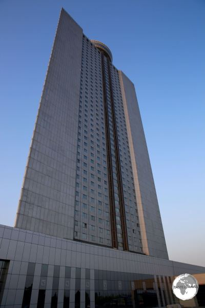 The Yanggakdo International Hotel is located on an island, in the middle of the Taedong river, in Pyongyang.