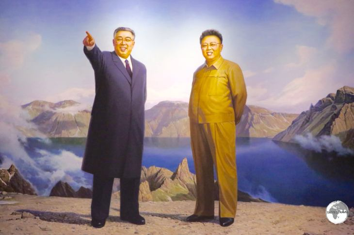 Artwork depicting Kim Il-Sung and Kim Jong-Il on Mount Paektu, which has always been considered sacred by Koreans throughout history.
