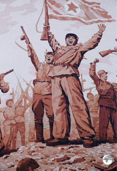A giant tiled-mosaic depicting <i>Victory</i> at the Victorious Fatherland Liberation War Museum in Pyongyang.