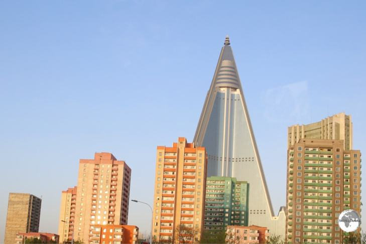 The 105-story Ryugyong Hotel dominates the Pyongyang skyline. Under construction since 1987 and not scheduled to open anytime soon.
