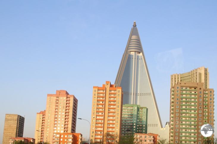 The 105-story Ryugyong Hotel dominates the skyline of Pyongyang.