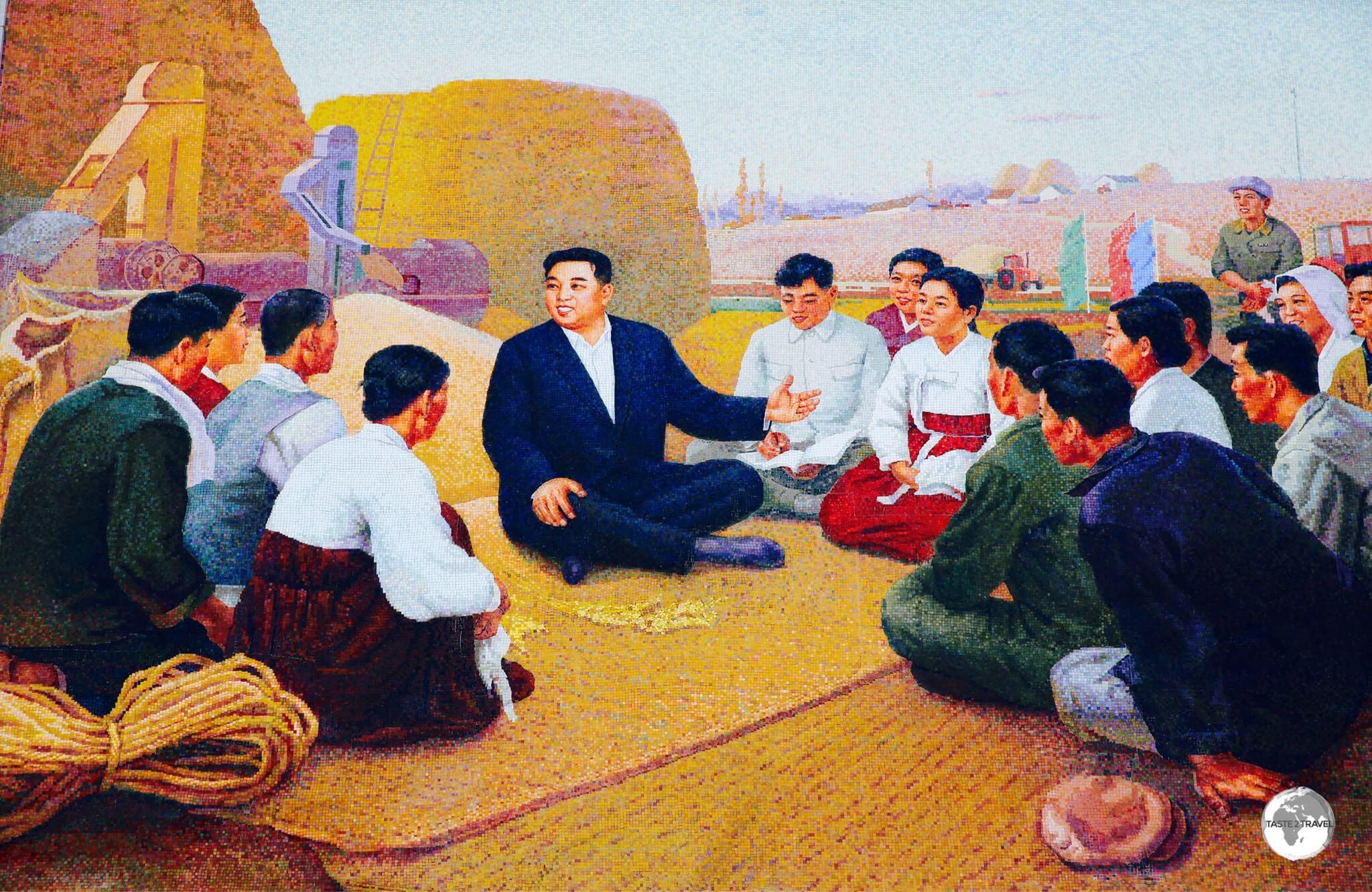 Tile mosaic propaganda billboard at Chongsan Co-operative farm commemorates the visit of Kim Il-sung