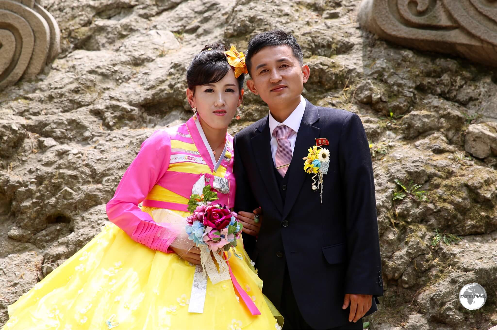 Like everywhere else in the world, Spring is the time for North Koreans to wed. Here, a newlywed couple is happy to pose for the camera.