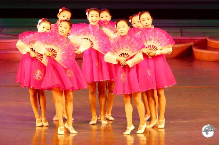 Young girls performing at the Mangyongdae Schoolchildren's Palace in Pyongyang.