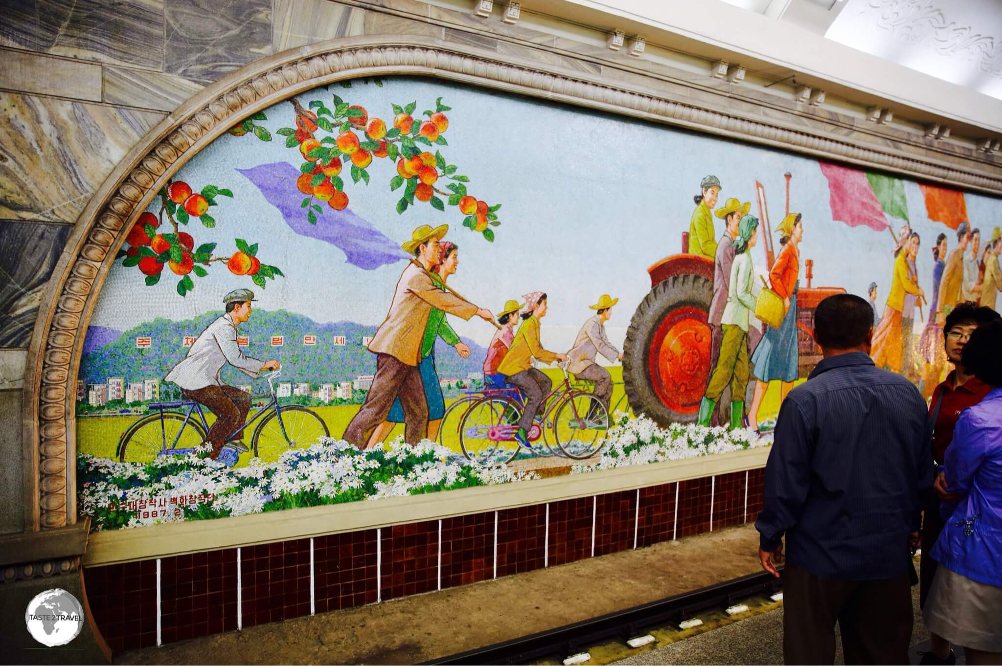 The platforms at Puhung station are adorned with 80 metre long tiled mosaics.