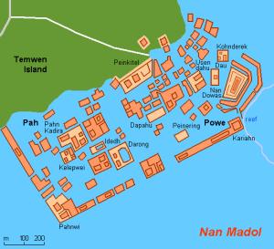 A diagram of the sprawling Nan Madol complex.