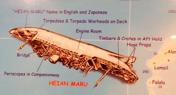 The Heian Maru wreck which lies at the bottom of Chuuk lagoon.
