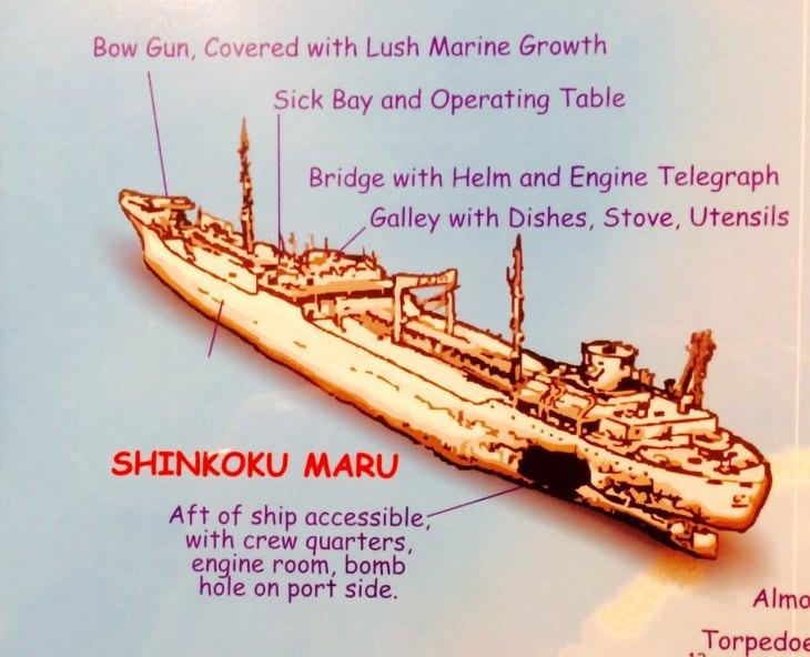 The Shinkoku Maru wreck which lies at the bottom of Chuuk lagoon.