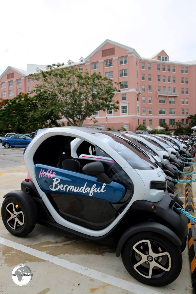 While rental cars are banned on the tiny streets of Bermuda, these Renault Twizy's, parked at the Hamilton Princess Hotel, are allowed.