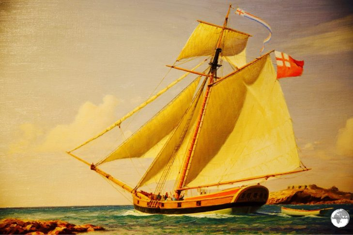 A painting of a Bermuda Sloop.