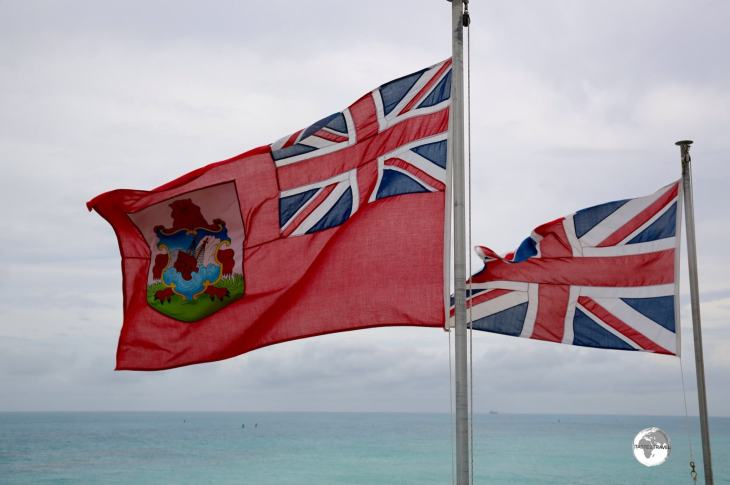 The Bermudan flag flying alongside the Union Jack.