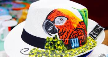 A colourfully painted Panama Hat.