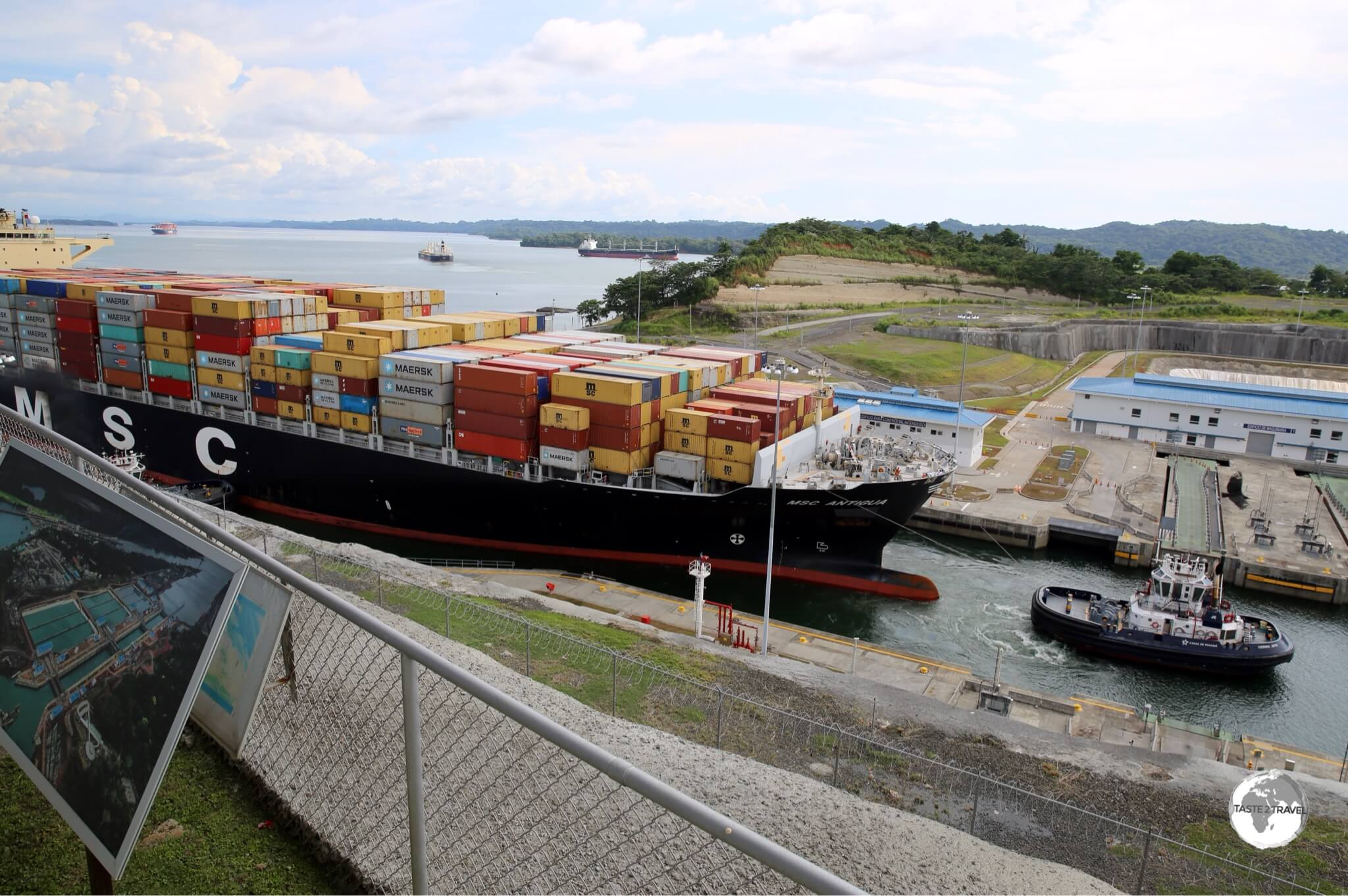 The gigantic MSC Antigua entering Lake Gatun locks.