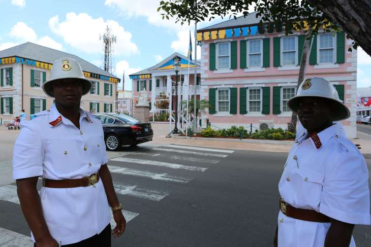 Policemen in downtown Nassau.