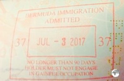 Bermuda Passport Stamp.