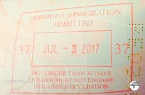 Bermuda passport stamp