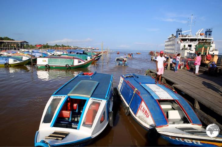 Speedboats at Parika port - a common means of transport in this 'land of many waters'.