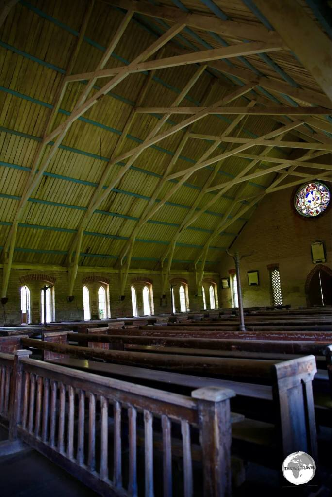 Interior of St. Peter's Anglican Church on Leguan island.