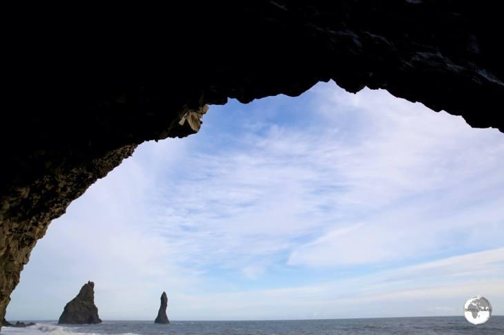 View of Reynisdrangar from inside the basalt column cave.