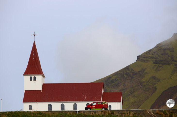 The hilltop church at Vik.