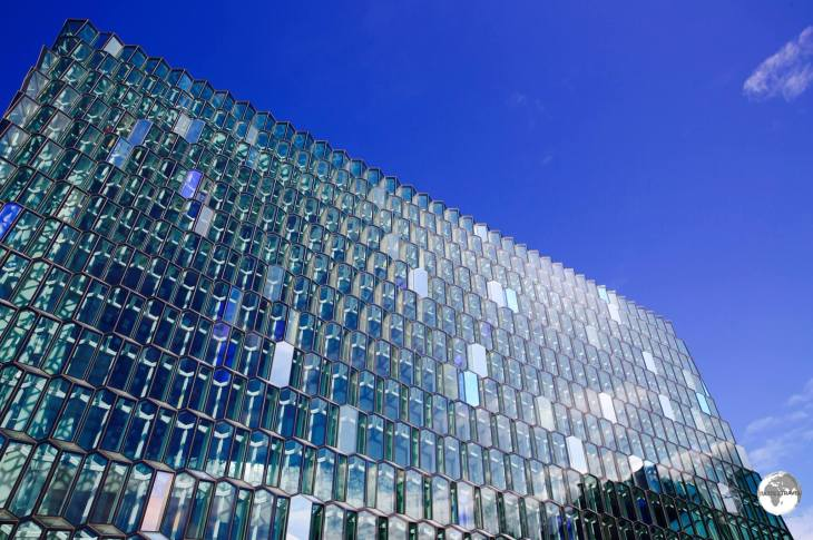The distinctive colored glass facade of the Harpa concert hall is inspired by the basalt landscape of Iceland.