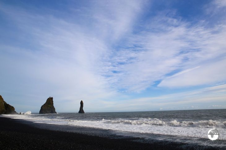 Reynisfjara (black-sand beach) with the towering Reynisdrangar