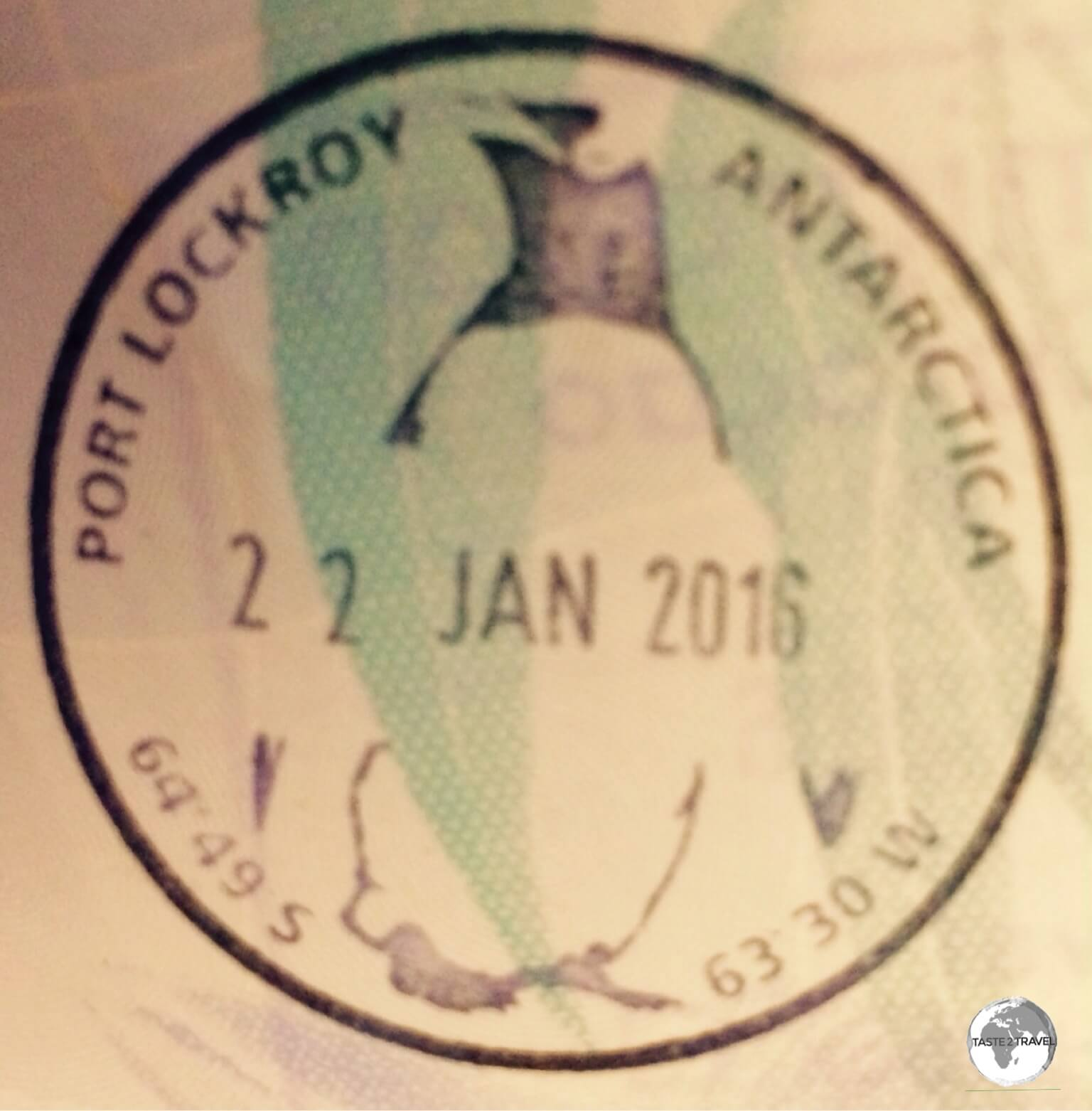 Souvenir Antarctica passport stamp from the Port Lockroy post office.