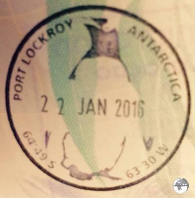 Antarctica Travel guide: Souvenir Antarctica passport stamp from the Port Lockroy post office.
