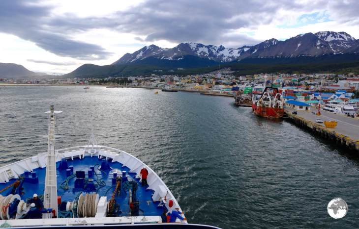 Our Quark Expedition ship, the <i>Ocean Diamond</i>, departing from Ushuaia, Tierra del Fuego, Argentina.