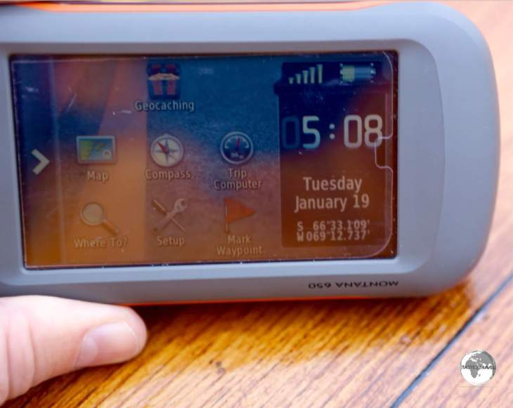 A GPS device confirms we have crossed the Antarctic Circle, which lies at 66°30′ S.