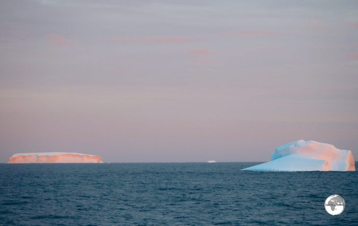 Icebergs glow in the setting Antarctic sun.