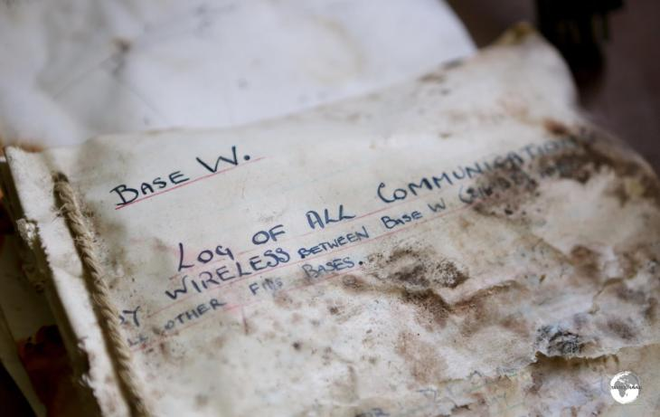 Scientific research material and log books remain on the desk in the office at Base W, Detaille Island.