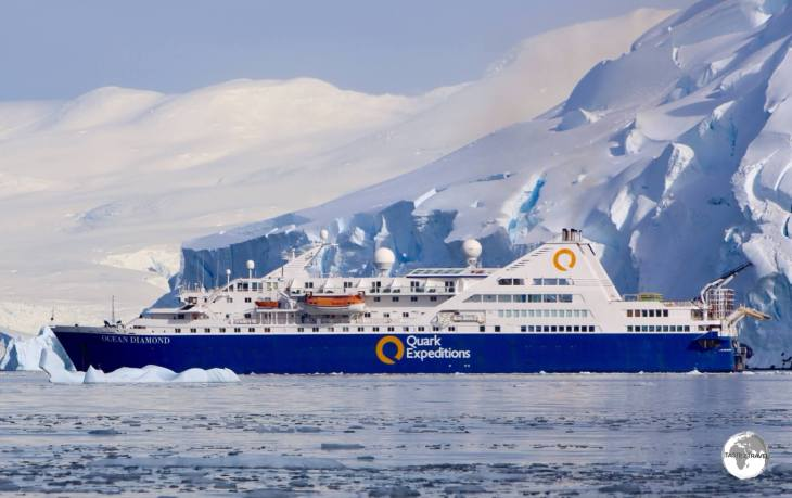 Quark Expeditions' Ocean Diamond, moored in the incredibly beautiful Graham passage.