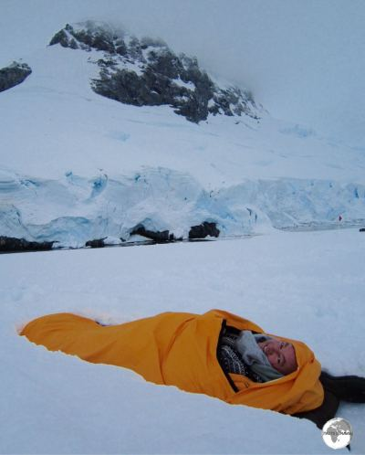 Wrapped up and protected against the elements, ready for my night of camping on Antarctica.