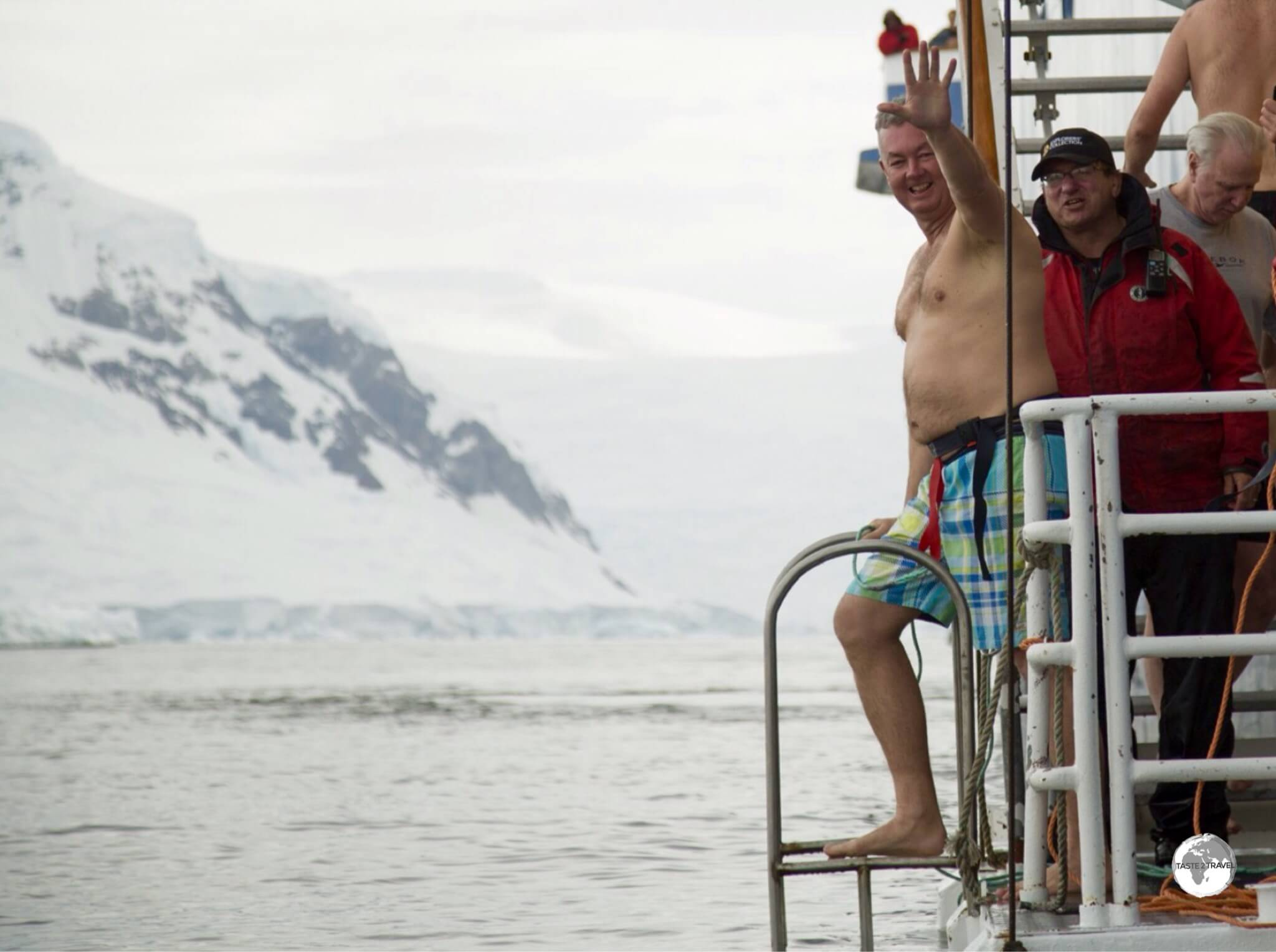 With a safety harness fitted, I'm ready to make my Polar Plunge into the icy waters of Wilhelmina Bay.