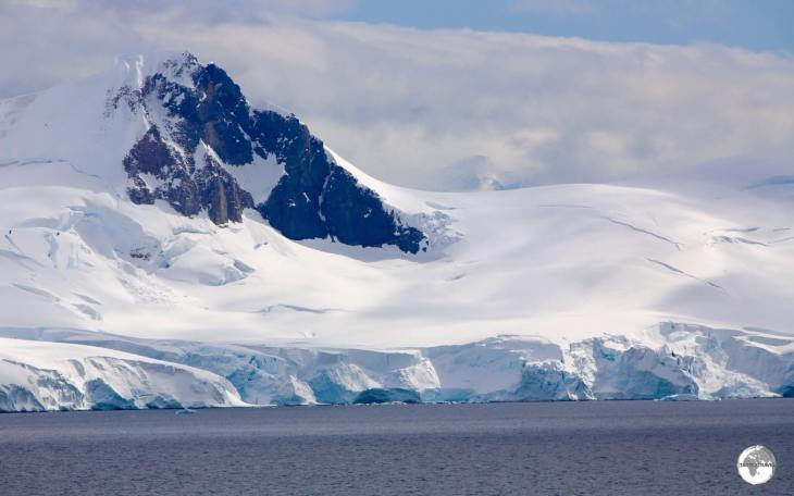 The view of Paradise bay, and the mountainous, glacier-covered Antarctic Peninsula, from <i>Base Brown</i>.