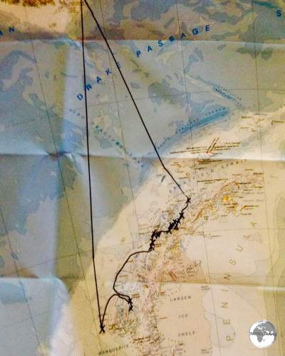 My map showing our journey from South America to Antarctica.