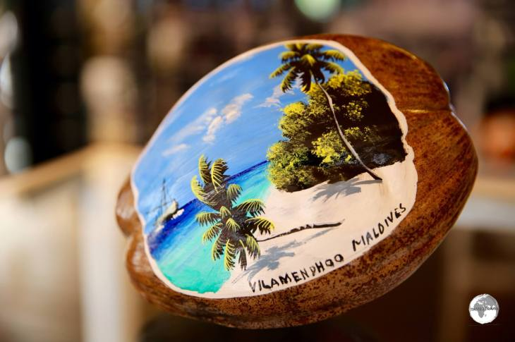 A painted coconut souvenir from Vilamendhoo Island Resort and Spa.