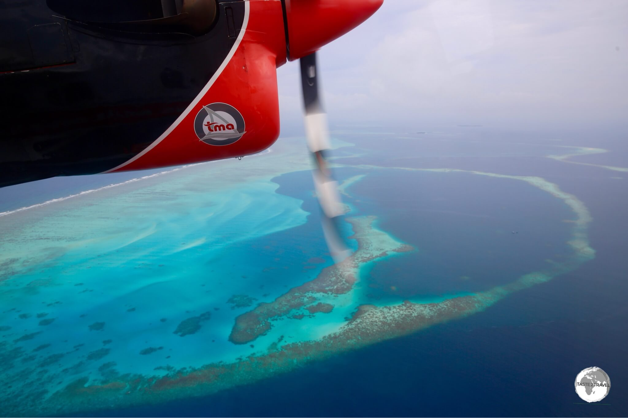 View from my TMA flight of one of the many submerged islands which comprise the Maldives.