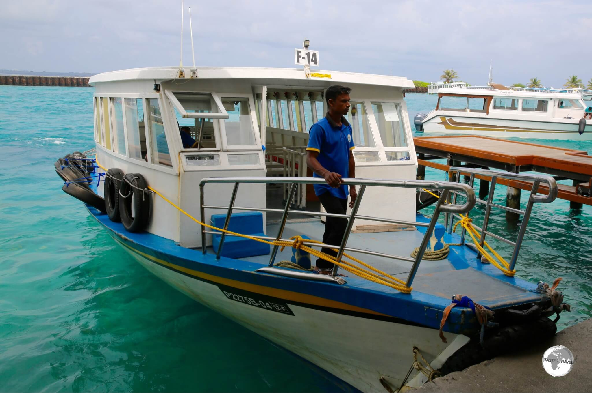 The Airport ferry docked outside Velana International airport.