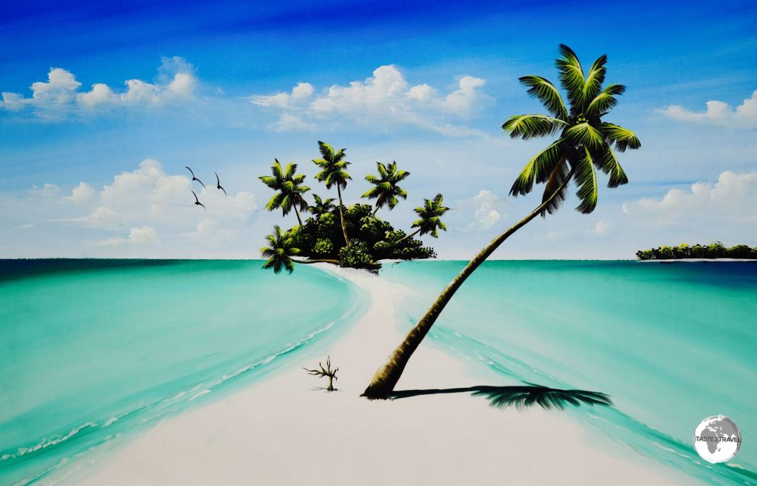 Typical Maldivian seascape as painted by Maafushi Island resident artist - Ibrahim Shinaz.
