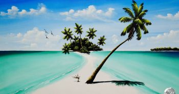 Typical Maldivian seascape as painted by Maafushi Island resident artist - Ibrahim Shinaz.