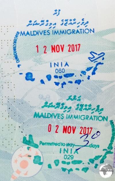 Maldives passport stamps.