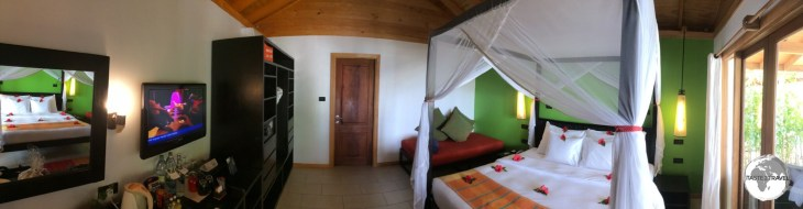 My deluxe room at the Vilamendhoo Island Resort and Spa.