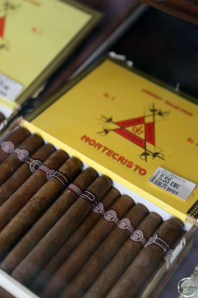 Montecristo Cigars, on sale at the factory shop in Havana (CUC5.55 = USD$5.55).
