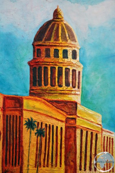 A painting depicting <i>El Capitolio</i>, the national Capitol building in Havana.