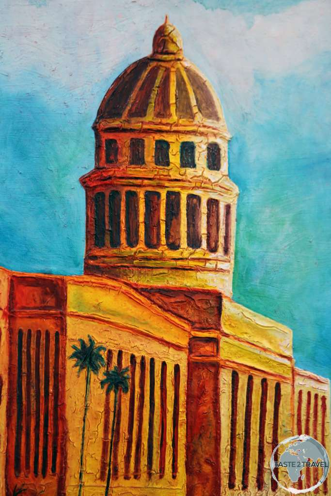 A painting depicting El Capitolio (National Capitol Building) in Havana.