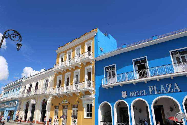 Parque Serafin Sanchez, the main square of Sancti Spíritus, is lined with beautiful Spanish, colonial-era, buildings.