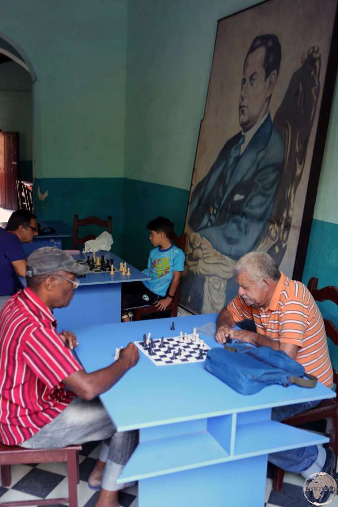 Playing Chess in an old town cafe in Camagüey.